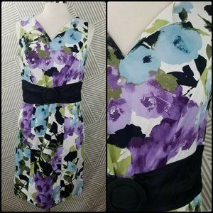 AGB Watercolor Floral Sheath Dress Size 10 spring